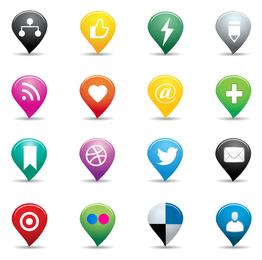 Ícones de pinos sociais