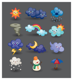 Weather icons with faces set