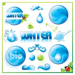 Círculos de agua y diseño de icono de gotas