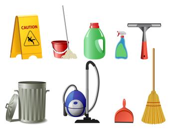 Icono de limpieza conjunto de vectores