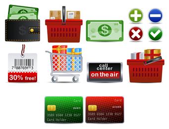 Tema de compras Vector icono