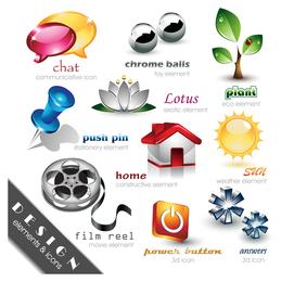 Conjunto de logos tridimensionales.