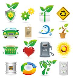 Tema verde iconos vectoriales
