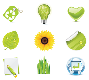 Ícones verdes do vetor de eco