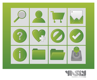 3D shopping icons in green tones set