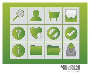 Iconos de compras 3D en conjunto de tonos verdes