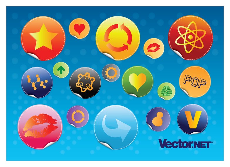 Glossy Design Badges set