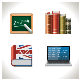 Set of 4 learning icons