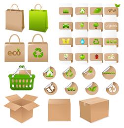 Reciclaje ambiental de la colección de plantillas de bolsas.