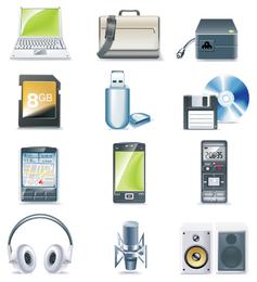 Smartphones y dispositivos conjunto de iconos 3D