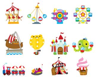 Conjunto de ícones de circo de recreio