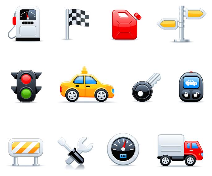 3D transport icon set