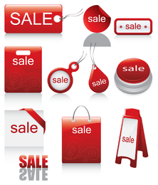 Rote Symbol-Vektor-Verkäufe