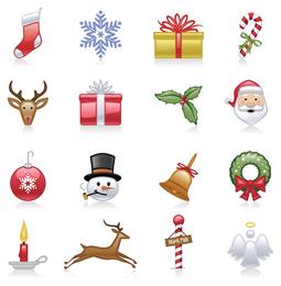 Conjunto de vectores de iconos de Navidad