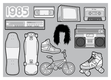 80er Elemente Illustrationen