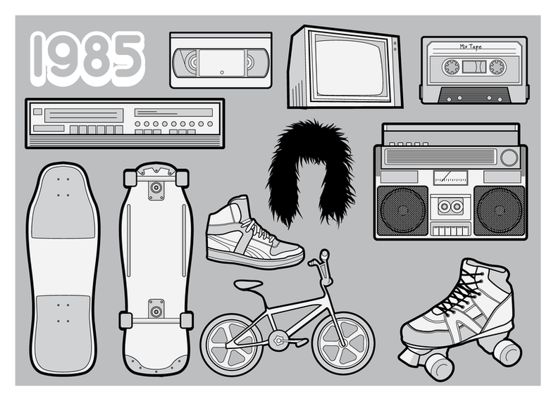 80s elements illustrations