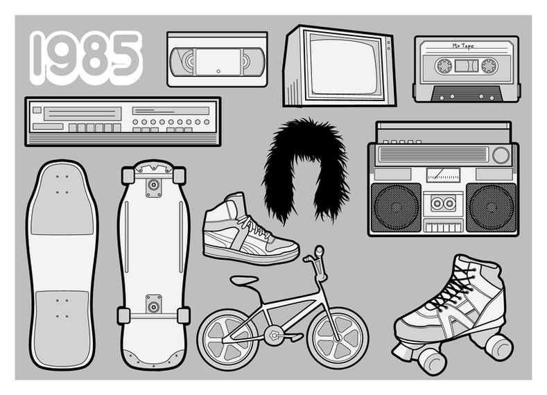 Ilustrações de elementos dos anos 80