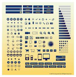 Ícones de botões da Internet
