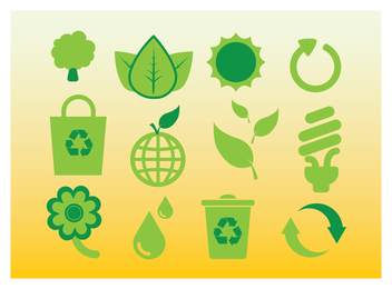 Flat green ecology icons