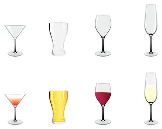 Set of 8 glasses and wineglasses