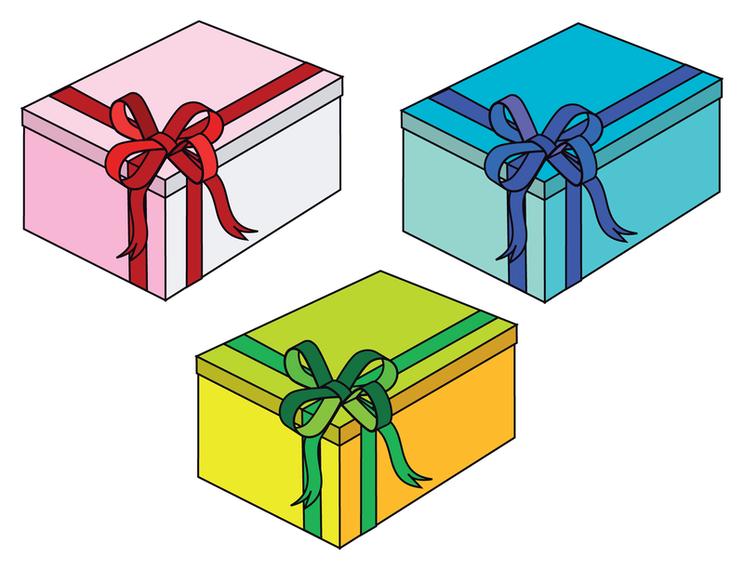 3 cajas de regalo de dibujos animados descargar vector