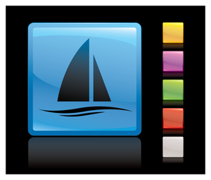 Crystal square icon vector