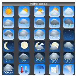 Big set of squared weather icons