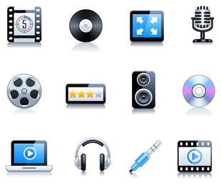 Conjunto de iconos de música y video