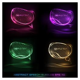 Buubles de discurso abstrato de néon 3D