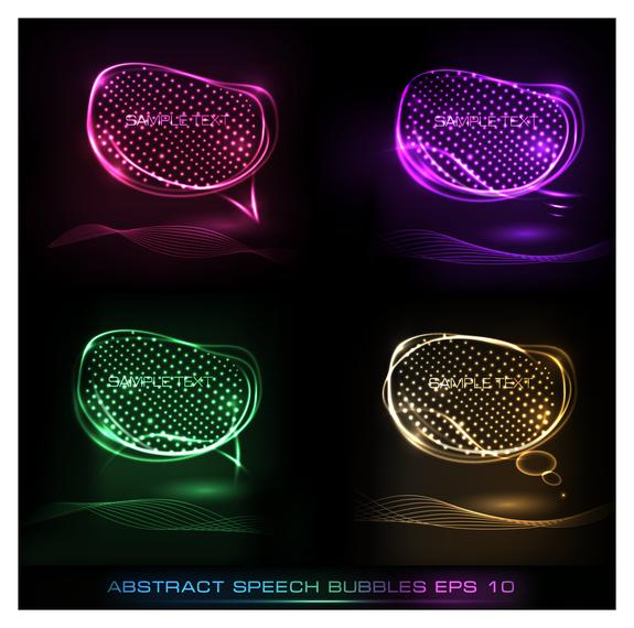 3D neon abstract speech buubles