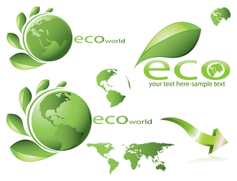 Eco themed icon set