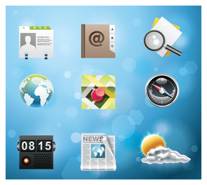 Realistic 3D apps icon set