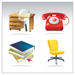 Vector de iconos de oficina