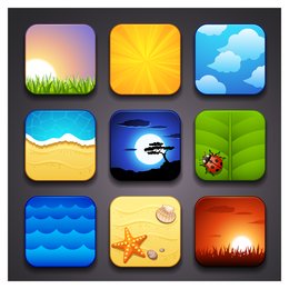 Scenic seasonal icons