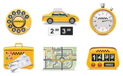 Táxi ícone em torno de 1