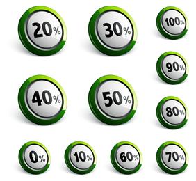 Desconto de coleção de botões 3D