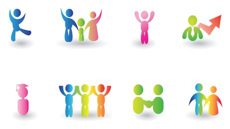 Conjunto de ícones coloridos de família