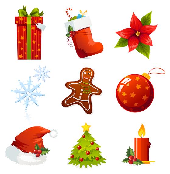 Conjunto de pegatinas de iconos de Navidad