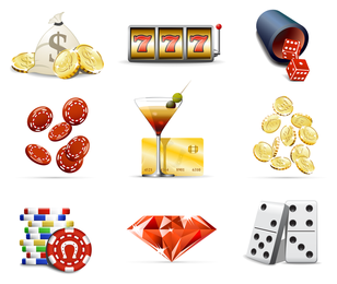 Casino elements icon set