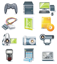 Gaming and entertainment devices 3D icon set
