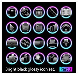 Icons set in black with gradients