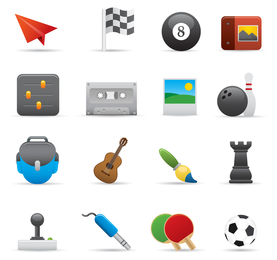 Conjunto de 16 ícones de desenho animado de entretenimento