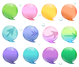 Speech bubble set with arrows