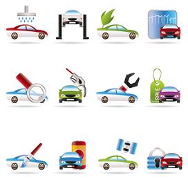 Ícones de vetor de serviços de carro 3D