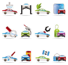 Servicios de automóviles 3D iconos vectoriales