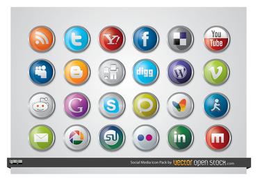 Iconos de redes sociales brillantes