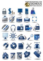 Conjunto de iconos grises azules de 3D varios