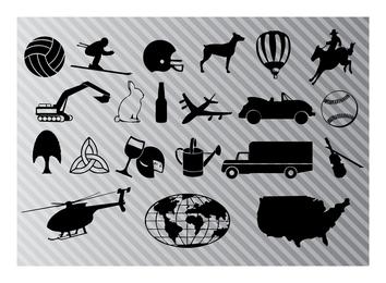 Conjunto de ícones gráficos vetoriais
