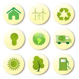 Conjunto de ícones verdes