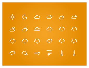 Pequeño conjunto de iconos de clima fresco